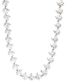Arabella Cultured Freshwater Pearl (6mm) and Swarovski Zirconia Collar Necklace in Sterling Silver