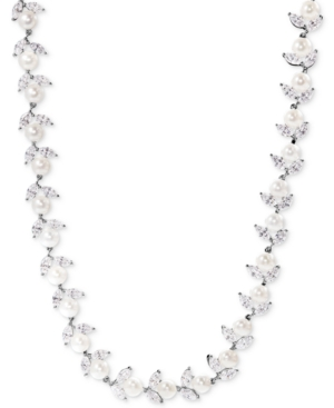 Cultured Freshwater Pearl (6mm) and Cubic Zirconia Collar Necklace in Sterling Silver