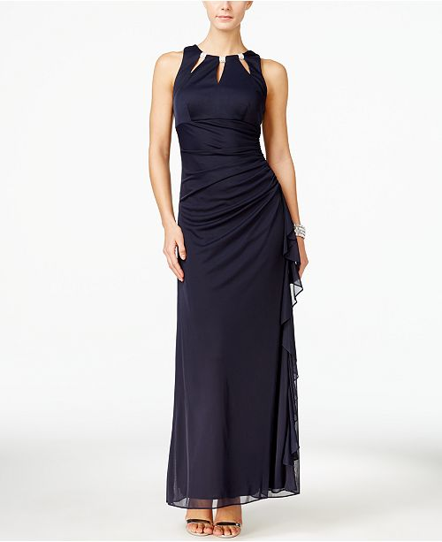Betsy & Adam B&A by Betsy and Adam Embellished Keyhole Ruched Gown