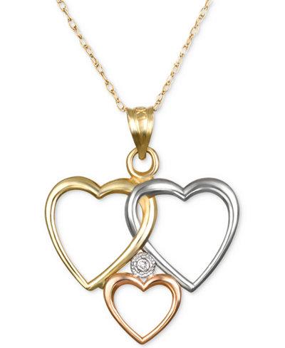 Diamond accent tri tone triple heart pendant necklace in 10k yellow diamond accent tri tone triple heart pendant necklace in 10k yellow white and rose aloadofball Images
