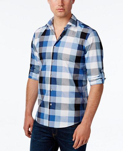 Alfani Men 39 S Long Sleeve Mason Twilight Plaid Shirt Only