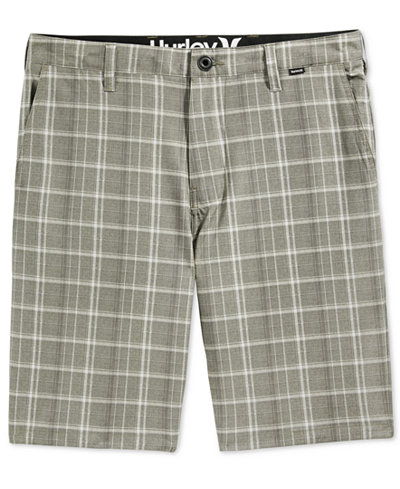Hurley Men's Davis Flat-Front Plaid Shorts