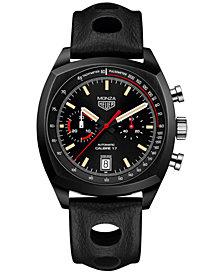 TAG Heuer Men's Special Edition Swiss Automatic Chronograph Monza Black Leather Strap Watch 42mm CR2080.FC6375