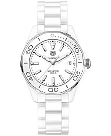 TAG Heuer Women's Swiss Aquaracer White Ceramic Bracelet Watch 35mm