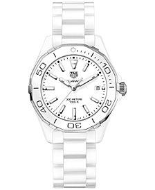 TAG Heuer Women's Swiss Aquaracer White Ceramic Bracelet Watch 35mm WAY1391.BH0717