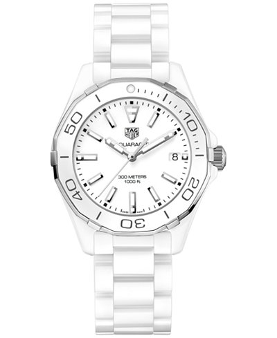 TAG Heuer Women's Swiss Aquaracer White Ceramic Bracelet Watch 35mm WAY1391.BH0717
