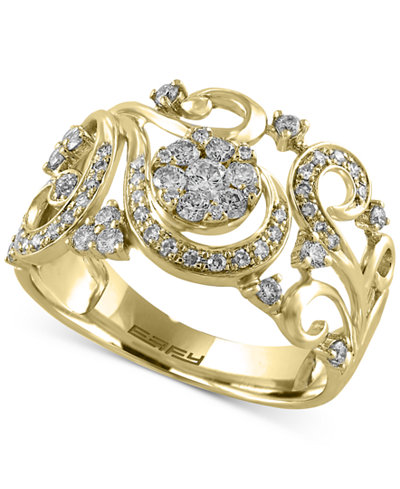 Effy Diamond Filigree Floral Ring 1 2 Ct T W In 14k
