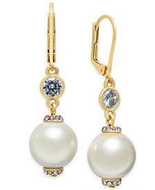 kate spade new york Rose Gold-Tone Pink Imitation Pearl Drop Earrings