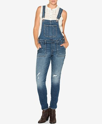 Silver Jeans Co. Indigo Wash Ripped Overalls - Pants - Women - Macy's