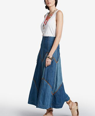 Free People Bliss Made Patchwork Denim Maxi Skirt - Skirts - Women ...
