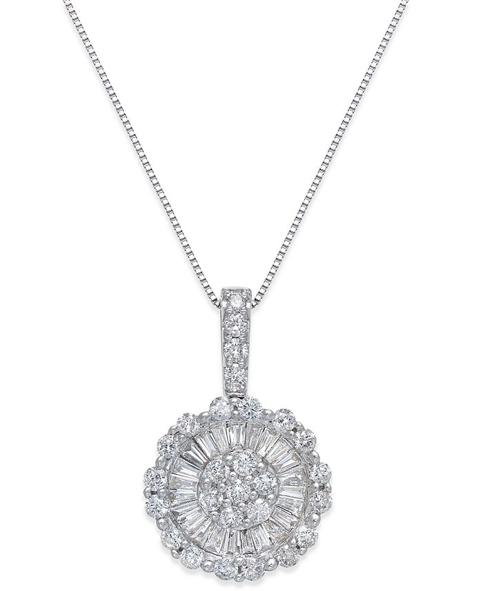 Macy's - Diamond Daisy Pendant Necklace (1-1/4 ct. t.w.) in 14k White Gold