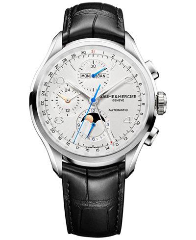 Baume & Mercier Men's Swiss Automatic Chronograph Clifton Black Leather Strap Watch 43mm M0A10278