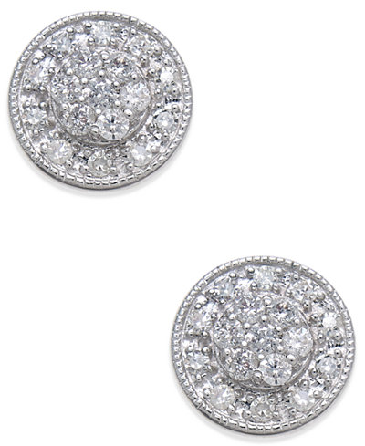 Diamond Cluster Round Stud Earrings (1/4 ct. t.w.) in 14k White Gold