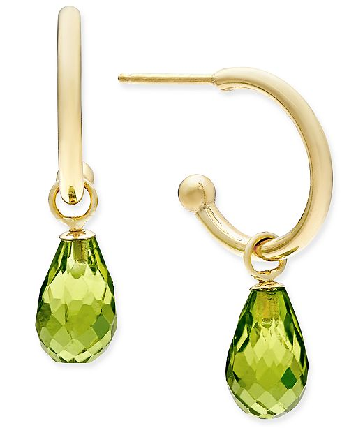 Macy's Peridot Briolette Hoop Earrings (3-5/8 ct. t.w.) in 14k Gold