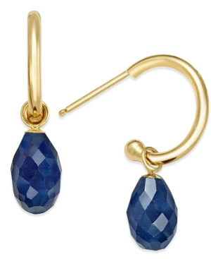 Click here for Sapphire Briolette Hoop Earrings (4-1/10 ct. t.w.) in 14k Gold prices