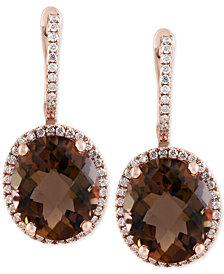 Sienna by EFFY® Smoky Quartz (7-7/8 ct. t.w.) and Diamond (3/8 ct. t.w.) Drop Earrings in 14k Gold