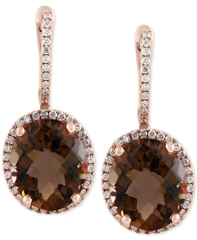 Sienna by EFFY® Smoky Quartz (7-7/8 ct. t.w.) and Diamond (3/8 ct. t.w.) Drop Earrings in 14k Gold