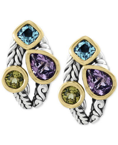 Balissima by EFFY® Multi-Gemstone Deco-Style Stud Earrings (5-1/10 ct. t.w.) in Sterling Silver and 18k Gold
