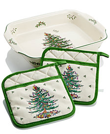 Spode Christmas Tree Large Lasagna Dish with Pot Holders, Created for Macy's