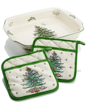Spode Christmas Tree Large Lasagna Dish with Pot Holders, Created for Macy's 2850373