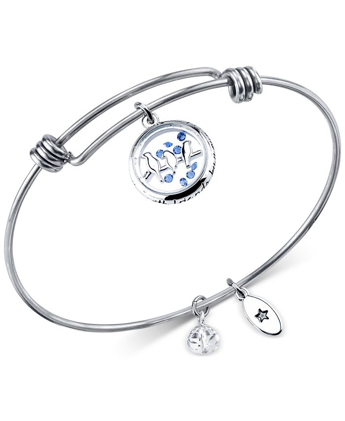 Unwritten - Bird Charm Bangle Bracelet in Stainless Steel with Silver-Plated Charms