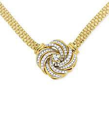 Diamond Love Knot Pendant Necklace (1/2 ct. t.w.) in 14k Gold-Plated Sterling Silver