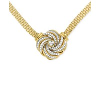 Macy's Diamond Love Knot 1/2 ct. t.w. Pendant Necklace in 14k Gold-Plated Sterling Silver