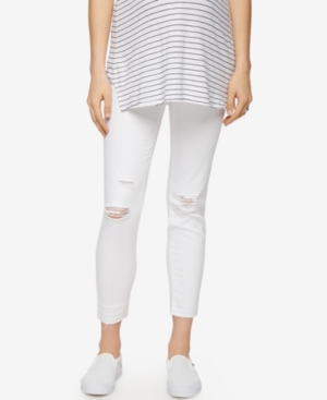 Luxe Essentials Maternity White Wash Ankle Skinny Jeans