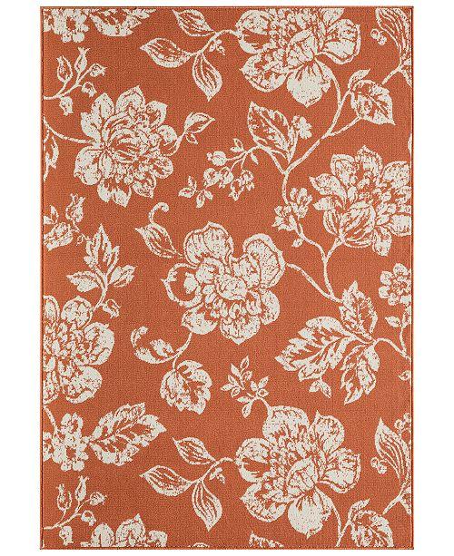 Momeni CLOSEOUT! Breezeway Indoor/Outdoor Floral Orange Area Rug