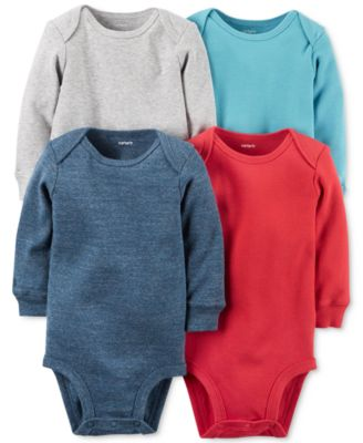 baby guess outlet y0ke  Carter's Baby Boys' 4-Pk Long-Sleeve Bodysuits