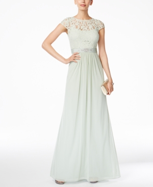 1930s Style Evening Dresses Adrianna Papell Lace Illusion Gown $179.00 AT vintagedancer.com