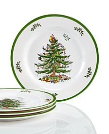 Christmas Tree Melamine Salad Plate, Set of 4