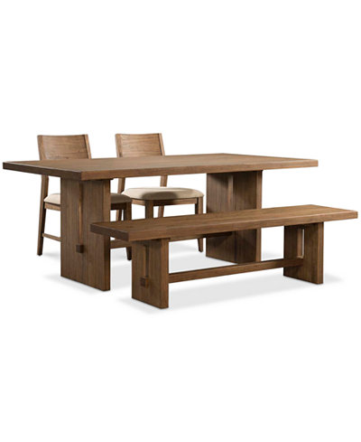Athena 4-Pc. Dining Set (Dining Trestle Table, 2 Side Chairs & Bench)