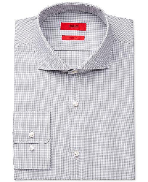 f9a2737ecf0 ... HUGO Slim-Fit Light Gray Check Dress Shirt ...