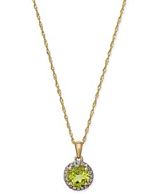 Peridot (1-1/3 ct. t.w.) and Diamond Accent Pendant Necklace in 14k Gold