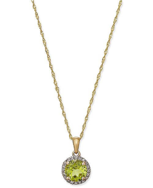 Macy's Peridot (1-1/3 ct. t.w.) and Diamond Accent Pendant Necklace in 14k Gold