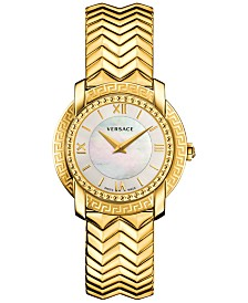 versace watches macy s versace women s swiss dv25 gold tone ion plated stainless steel bracelet watch 36mm vam04