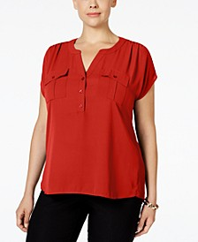 INC Plus Size Mixed-Media Utility Shirt, Created for Macy's