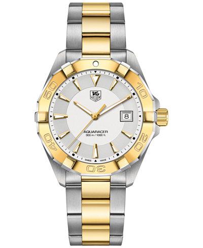 TAG Heuer Men's Swiss Aquaracer Two-Tone Stainless Steel Bracelet Watch 41mm WAY1120.BB0930