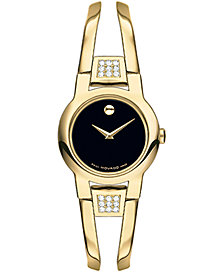 Movado Women's Swiss Amorosa Diamond (1/10 ct. t.w.) Gold-Tone PVD Stainless Steel Bangle Bracelet Watch 24mm 0606895