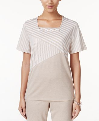 Alfred dunner petite acadia striped beaded top tops for Alfred dunner wedding dresses