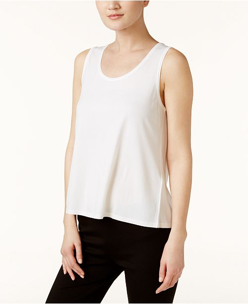 Tank Regular Silk Eileen Petite Top White Jersey SYSTEM amp; Fisher PYWq6wI