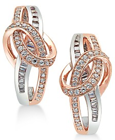 Diamond Two-Tone Swirl Drop Earrings (1/2 ct. t.w.) in 14k Rose and White Gold