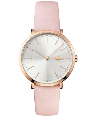 lacoste women 39 s moon pink leather strap watch 35mm 2000948 watches jewelry watches macy 39 s. Black Bedroom Furniture Sets. Home Design Ideas
