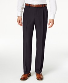 Haggar Men's Texture Weave Classic Fit Pleated Hidden Expandable Waistband Dress Pants