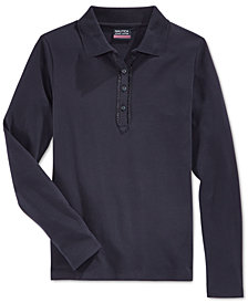 Nautica School Uniform Ruffled Long-Sleeve Polo Shirt, Big Girls