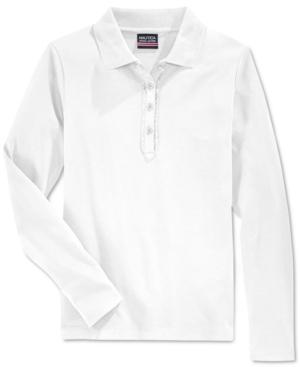 Nautica School Uniform Ruffled LongSleeve Polo Shirt Big Girls (716)