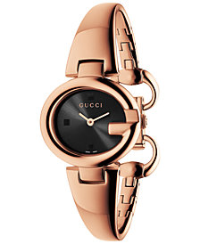 Gucci Women's Swiss Guccissima Rose Gold-Tone PVD Bangle Bracelet Watch 27mm YA134509
