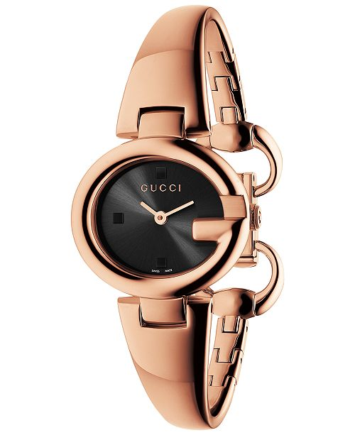 050b2785892 ... Gucci Women's Swiss Guccissima Rose Gold-Tone PVD Bangle Bracelet Watch  27mm YA134509 ...