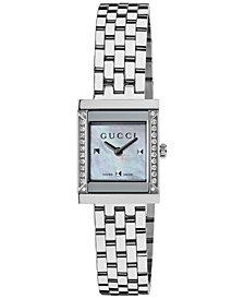 Gucci Watch, Women's Swiss G-Frame Diamond Accent Stainless Steel Bracelet 19mm YA128405